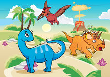 Cartoon dinosaurs Stock Photos