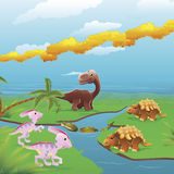Cartoon dinosaurs scene. Cute dinosaurs in prehistoric scene. Series of three illustrations that can be used separately or side by side to form panoramic Stock Image