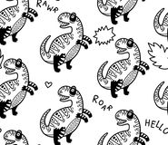 Cartoon dinosaurs seamless pattern for kid in outline. T-rex dino seamless pattern with simple phrases in outline. It can be used for backgrounds, surface Stock Images