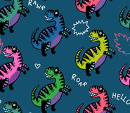 Cartoon dinosaurs seamless pattern for kid. T-rex dino seamless pattern with simple phrases. For cards, party, banners, and children room decoration Royalty Free Stock Photos