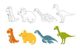 Cartoon dinosaurs set. Coloring book pages for kids.  Vector ill Royalty Free Stock Photos