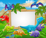 Cartoon Dinosaurs Sign Royalty Free Stock Images