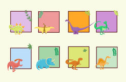 Cartoon dinosaurs vector illustration  monster card template animal dino prehistoric character reptile predator Royalty Free Stock Photo