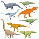 Cartoon dinosaurus, reptiles vector set. Cartoon dinosaurus, reptiles vector. Set of color cartoon dinosaur, illustration of prehistoric predator dinosaur Royalty Free Stock Images