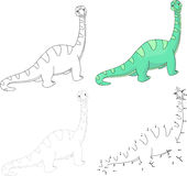 Cartoon diplodocus. Vector illustration. Dot to dot game for kid Stock Image