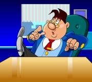 Cartoon director man very surprised Stock Image