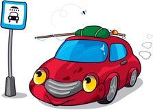 Cartoon Dirty Car. Тext to Сar Wash Road Sign royalty free illustration