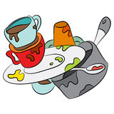 Cartoon Dirty Dishes Stock Photography