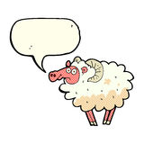 cartoon dirty sheep with speech bubble Royalty Free Stock Images