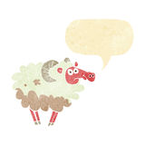Cartoon dirty sheep with speech bubble Stock Photo