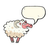 cartoon dirty sheep with speech bubble Stock Photography