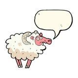 Cartoon dirty sheep with speech bubble Stock Photography