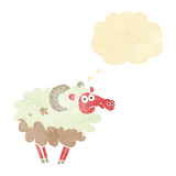 cartoon dirty sheep with thought bubble Stock Images