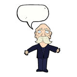 cartoon disapointed old man with speech bubble Royalty Free Stock Photography