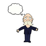 cartoon disapointed old man with thought bubble Royalty Free Stock Photography