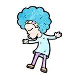 Cartoon disco dancing girl. Retro cartoon with texture. Isolated on White Stock Photos