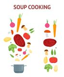 Cartoon Dish and Ingredients Set Cooking Soup. Vector Royalty Free Stock Photo