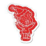 Cartoon distressed sticker of a man gasping in surprise wearing santa hat. A creative illustrated cartoon distressed sticker of a man gasping in surprise wearing royalty free illustration