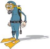 Cartoon diver Stock Photo