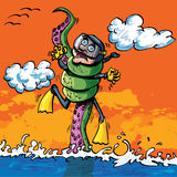 Cartoon diver attacked by tentacle Stock Images