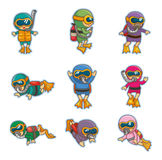Cartoon diver icons Royalty Free Stock Photo