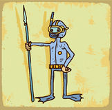 Cartoon diver illustration  , vector icon. Royalty Free Stock Images