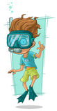 Cartoon diver with swimming mask Stock Image