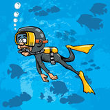 Cartoon diver swimming underwater with fish. Cartoon diver swimming underwater. Blue sea behind him with fish Royalty Free Stock Image