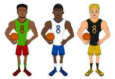 Cartoon of diverse basketball players stock illustration