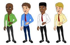 Cartoon of diverse casually dressed businessmen royalty free illustration