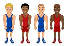 Cartoon of diverse fighters/wrestlers vector illustration