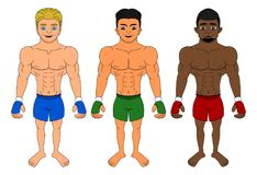 Cartoon of diverse MMA fighters royalty free illustration