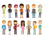 Cartoon diverse people. Set of diverse vector people. Men and women, young and old, different poses. Cute and simple modern flat cartoon style stock illustration