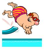 Cartoon diving man Stock Photography