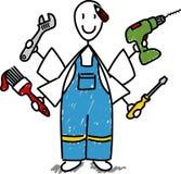 Cartoon DIY man royalty free stock photo
