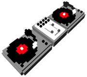 Cartoon DJ's double turntable. Cartoon style DJ double turntable in 3D pixels Stock Image