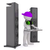 Cartoon DJ at Turn Table Between Large Speakers. Generic 3d Rendered Cartoon Character Wearing Purple Cap and Headphones Standing Behind DJ Record Turn Table in Stock Photography
