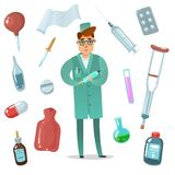 Cartoon doctor accessories set. doctor surrounded by kmedical and hospital accessories for treatment isolated objects in vector illustration