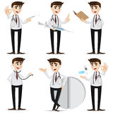 Cartoon doctor in action Royalty Free Stock Images