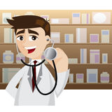 Cartoon doctor in action using stethoscope Stock Images