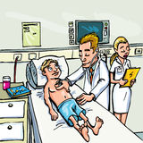 Cartoon doctor attending a young patient Stock Image