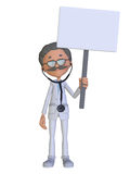 Cartoon doctor with a blank sign Stock Photos