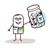 Cartoon doctor with bottle of medicine capsules stock image