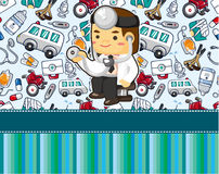 Cartoon doctor card Stock Photography
