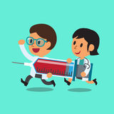 Cartoon doctor character man and woman carrying a big syringe Royalty Free Stock Photo
