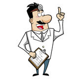 Cartoon Doctor with Clipboard Stock Photo