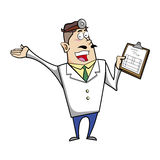 Cartoon doctor with clipboard Royalty Free Stock Photo
