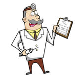 Cartoon Doctor with Clipboard and Syringe Stock Photos
