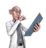 Cartoon Doctor Considering a Diagnosis. A cartoon doctor is holding a clipboard while thinking - 3d render Stock Images