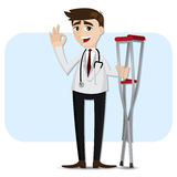 Cartoon doctor with crutch Stock Image